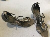 Size 9 gold wedge sandals NEXT