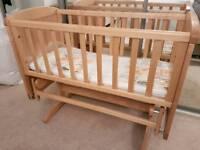 Mothercare deluxe gliding crib and brand new crib mattress