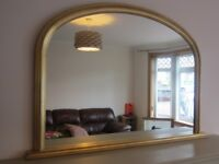 Morris Mirrors gilt gold leaf over-mantle mirror in excellent condition from smoke & pet free home