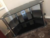 TV Stand Black Glass with Chrome Legs