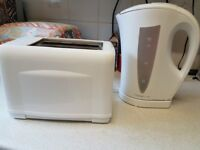 **Used white Cookworks kettle and Argos toaster**