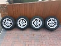 Bmw 16 inch alloys wheels 4 new tyres fitted 1 3 series fitment