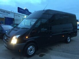 2008 08 FORD TRANSIT JUMBO LWB BLACK CREW-VAN 6 SEATER MOTORCROSS POSS CAMPER CONVERSION ? NO VAT