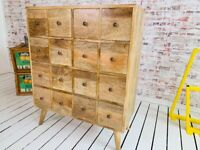 Apothecary Large 16-Drawer Hobby Chest Solid Hardwood Mid-Century Style Modern Living