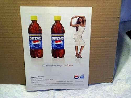 2004 BEYONCE KNOWLES PEPSI COLA Soda AD PRINT ONLY,singer rock and pop