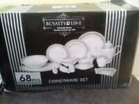SET1 - New & boxed 61 Piece Porcelain Royalty Line DINNERWARE set, White with silver trim, NEW