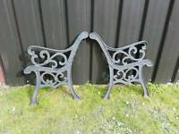 PAIR OF CAST IRON BENCH ENDS ONLY NO SLATS PRETTY DESIGN VERY HEAVY