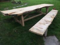 Huge Rustic Garden Table made of green English Oak Waney Edge