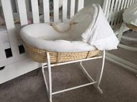 Clair de lune premium cream waffle Moses basket with rockable stand bassinet