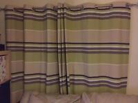 Thick eyelet curtains. Green, brown, beige