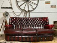 CHESTERFIELD 3 SEATER SOFA OX BLOOD