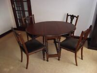 Dining Table with 4 Chairs-Gate Leg Table with Sprung Upholstered Chairs all solid wood
