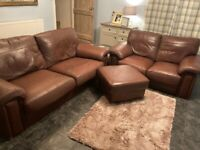 Brown leather Sofa set with footstool