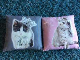 Two pink and grey cute cat kitten cushions with fillers