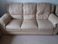 3 piece suit cream leather sofa