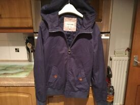 RIVER ISLAND BLUE coat with hood size small 29 inches pit-pit. IMMACULATE CLEAN CONDITION.