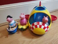 Peppa Pig weebles space rocket and vehicles