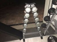 Body Power 5kg - 17.5Kg Hex Cast Iron Dumbbell Set & Rack