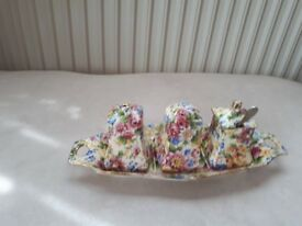 ROYAL WINTON. GRIMWADES. CHINTZ. CHEADLE. CRUET SET. GOOD COND.