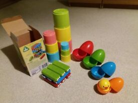 ELC Early Learning Centre toys (Bugs Building set + Nesting Eggs + Stacking Cups)