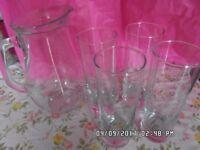 Glass drinking set -jug +4 high glasses - £3