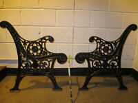 PAIR OF VINTAGE DECORATIVE CAST IRON GARDEN BENCH ENDS FREE DELIVERY
