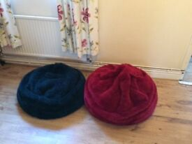 Bean bags for sale. Two. One red and one dark green. Sold together or separately.
