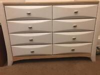 8 Drawer leather Dressing Table with Leather Mirror