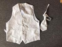 Wedding groom waistcoat vest off white silver satin tie size M