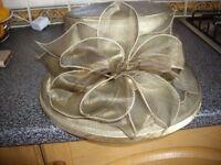 Ladies Gold Coloured Wedding Hat.