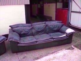 Green Leather Large 3 seat Sofa Delivery Available £10