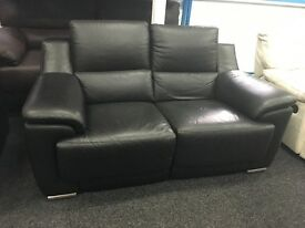 NEW/EX DISPLAY LazBoy Black Leather Recliner 2 Seater Sofa