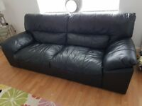 4 Seater Black Leather Sofa + Chair + Footstool