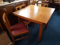 Oak Pull Out Extending Dining Table And 3 Chairs