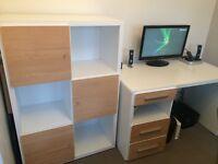 Desk & cupboard unit white and light oak wood effect