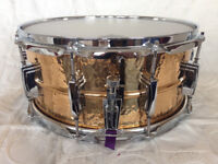"Ludwig 14"" x 6.5"" hammered bronze snare drum"