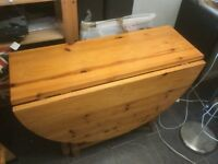 Lovely Pine folding Kitchen or Dining table drop leaf