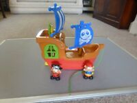 Chad Valley. Pirate ship with sounds lights,2 characters,moving parts.PLUS Build & Play Fire Engine.
