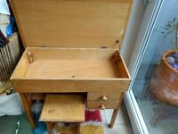 Handmade solid wood child's desk with lift up top for storage