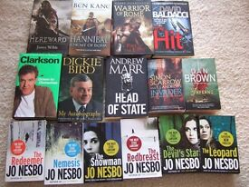 Mixed collection of hardback and paperback books, thriller, historical fiction and biography genres