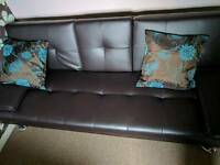 Brown Faux Leather Double Sofa Bed