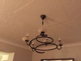 5 candle ceiling light with 2 matching wall lights