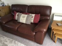 Matching leather sofa and chair