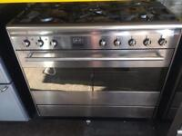 Stainless steel smeg five burners dual fuel cooker grill & fan oven with guarantee