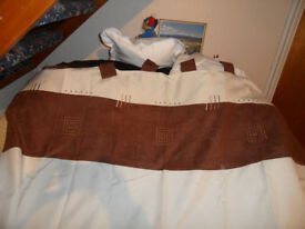 80x64 Tab top Brown and Cream curtains