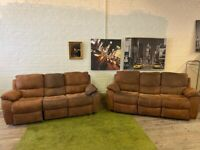 HARVEYS SUEDE TWO TONE FABRIC SOFA SET RECLINERS IN GOOD CONDITION CAN DELIVER