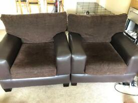 2 ARMCHAIRS GOOD CONDITION - BROWN