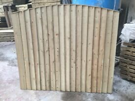 Bow top feather edge fence panels pressure treated