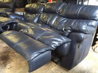 soft Black Leather Sofa & Armchair Setee Suite with recliner footrests