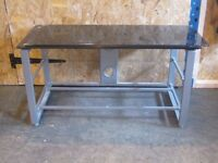 TV stand black glass with shelves